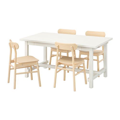 RÖNNINGE/NORDVIKEN - table and 4 chairs, white/birch | IKEA Hong Kong and Macau - PE744615_S4