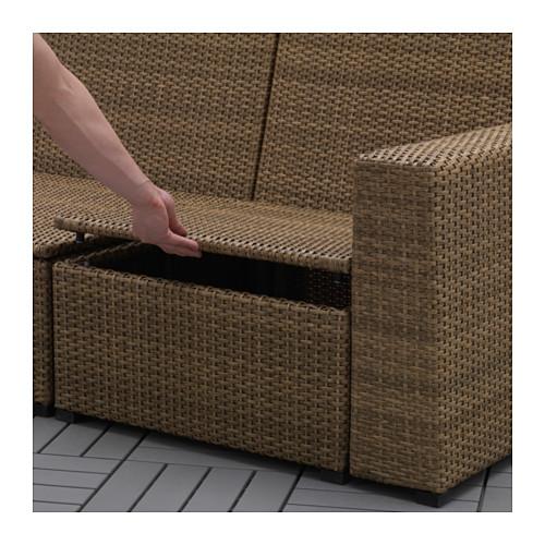 SOLLERÖN - 3-seat modular sofa, outdoor, brown/Frösön/Duvholmen beige | IKEA Hong Kong and Macau - PE656970_S4