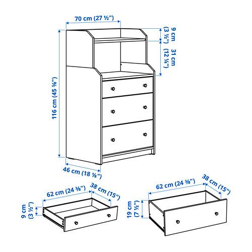 HAUGA - chest of 3 drawers with shelf, white | IKEA Hong Kong and Macau - PE798884_S4