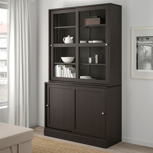 HAVSTA - storage comb w sliding glass doors, dark brown | IKEA Hong Kong and Macau - PE693105_S4