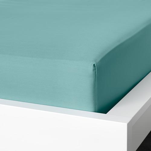 NATTJASMIN - fitted sheet, grey-turquoise, king | IKEA Hong Kong and Macau - PE779168_S4