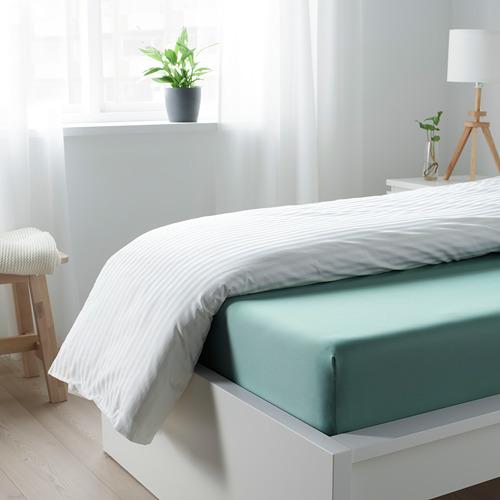 NATTJASMIN - fitted sheet, grey-turquoise, single   IKEA Hong Kong and Macau - PE779169_S4