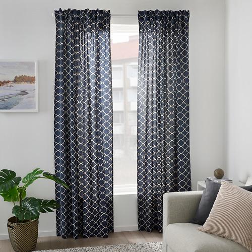 CITRUSTRÄD - curtains, 1 pair, blue/white   IKEA Hong Kong and Macau - PE799561_S4