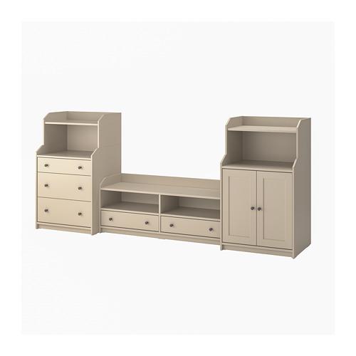 HAUGA - TV/storage combination, beige | IKEA Hong Kong and Macau - PE799582_S4
