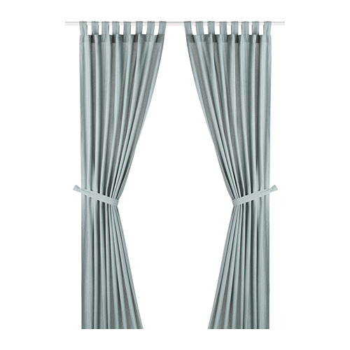 LENDA - 窗簾連簾帶,一對, 灰湖水綠色 | IKEA 香港及澳門 - PE799614_S4