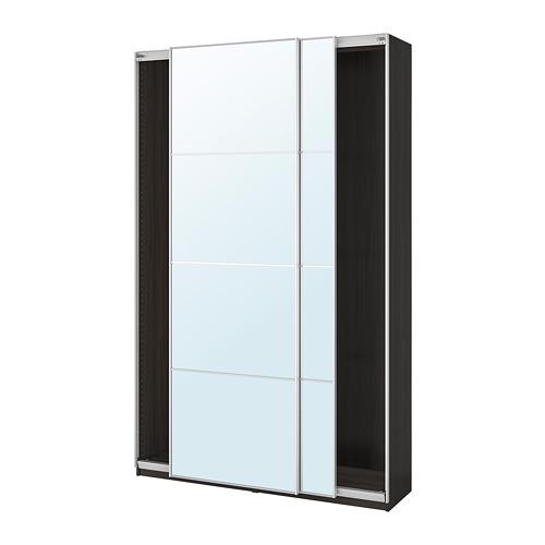 PAX - wardrobe with sliding doors, black-brown/Auli mirror glass | IKEA Hong Kong and Macau - PE705419_S4
