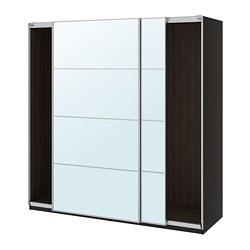 PAX - wardrobe with sliding doors, black-brown/Auli mirror glass | IKEA Hong Kong and Macau - PE705432_S3