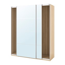 PAX - wardrobe with sliding doors, white stained oak effect/Auli mirror glass | IKEA Hong Kong and Macau - PE705528_S3