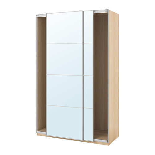 PAX - wardrobe with sliding doors, white stained oak/Auli mirror glass | IKEA Hong Kong and Macau - PE705534_S4