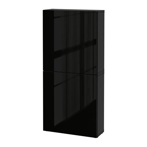 BESTÅ - 雙門吊櫃, black-brown/Selsviken high-gloss/black | IKEA 香港及澳門 - PE535245_S4