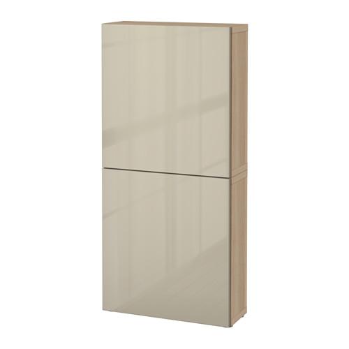 BESTÅ - wall cabinet with 2 doors, white stained oak effect/Selsviken high-gloss/beige | IKEA Hong Kong and Macau - PE535260_S4