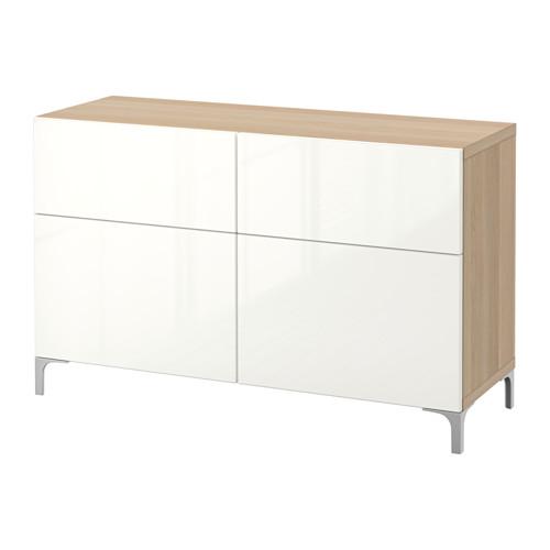 BESTÅ - 貯物組合連門/抽屜, 染白橡木紋/Selsviken 光面白色   IKEA 香港及澳門 - PE538404_S4
