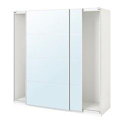 PAX - wardrobe with sliding doors, white/Auli mirror glass | IKEA Hong Kong and Macau - PE705566_S3