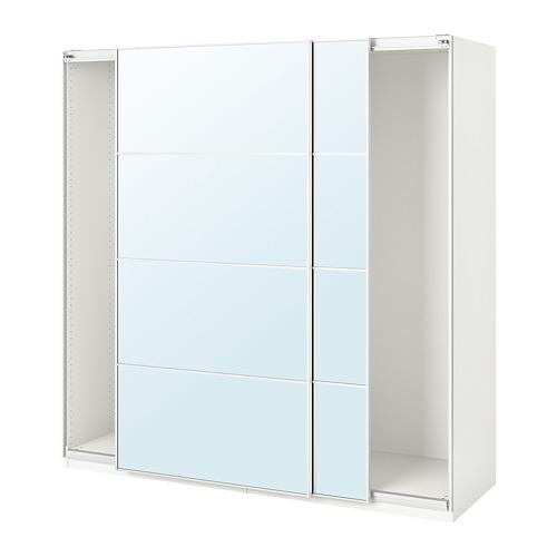 PAX - wardrobe with sliding doors, white/Auli mirror glass   IKEA Hong Kong and Macau - PE705566_S4