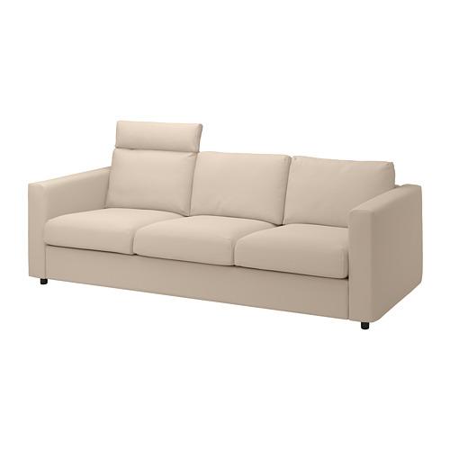VIMLE - cover for 3-seat sofa, with headrest/Hallarp beige | IKEA Hong Kong and Macau - PE799849_S4