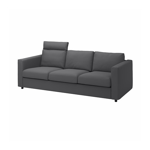 VIMLE - cover for 3-seat sofa, with headrest/Hallarp grey | IKEA Hong Kong and Macau - PE799851_S4