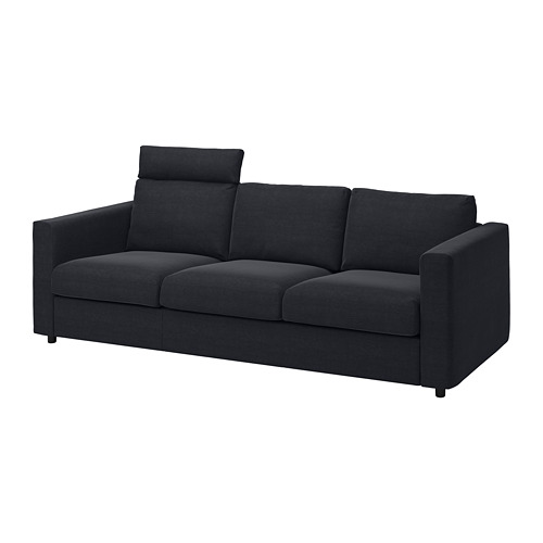 VIMLE - cover for 3-seat sofa, with headrest/Saxemara black-blue | IKEA Hong Kong and Macau - PE799855_S4