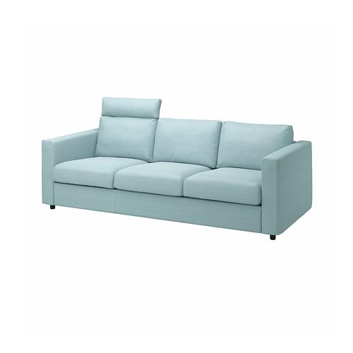 VIMLE - 三座位梳化, 連頭枕/Saxemara 淺藍色   IKEA 香港及澳門 - PE799857_S4