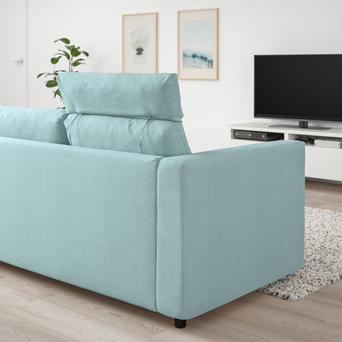 VIMLE - 三座位梳化, 連頭枕/Saxemara 淺藍色   IKEA 香港及澳門 - PE799859_S4