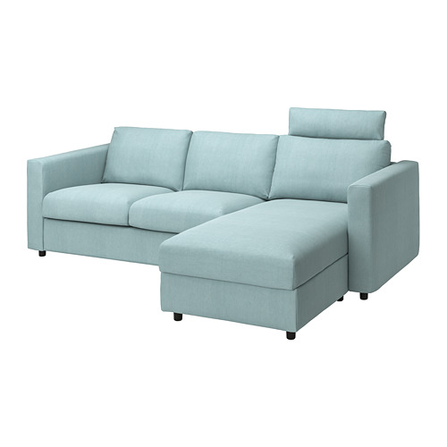 VIMLE - cover 3-seat sofa w chaise longue, with headrest Saxemara/light blue | IKEA Hong Kong and Macau - PE799875_S4