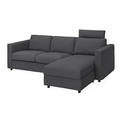 VIMLE - 三座位梳化連躺椅, 連頭枕/Hallarp 灰色 | IKEA 香港及澳門 - PE799882_S3