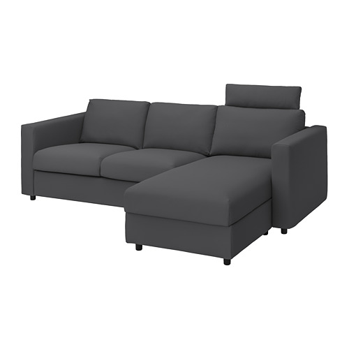 VIMLE - cover 3-seat sofa w chaise longue, with headrest/Hallarp grey | IKEA Hong Kong and Macau - PE799882_S4