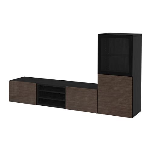 BESTÅ - 電視貯物組合/玻璃門, black-brown/Selsviken high-gloss/brown clear glass   IKEA 香港及澳門 - PE705677_S4