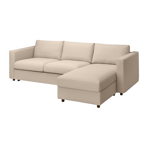 VIMLE - 3-seat sofa-bed with chaise longue, Hallarp beige | IKEA 香港及澳門 - PE799927_S4