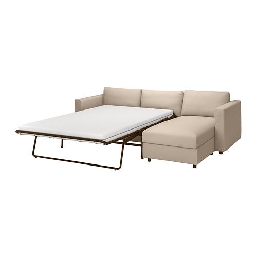 VIMLE - 3-seat sofa-bed with chaise longue, Hallarp beige | IKEA 香港及澳門 - PE799918_S4
