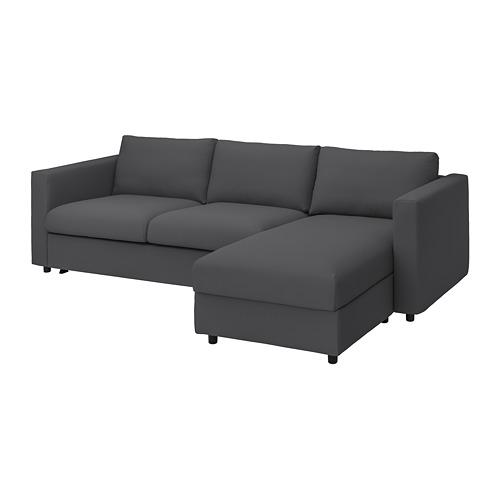 VIMLE - 3-seat sofa-bed with chaise longue, Hallarp grey   IKEA 香港及澳門 - PE799920_S4