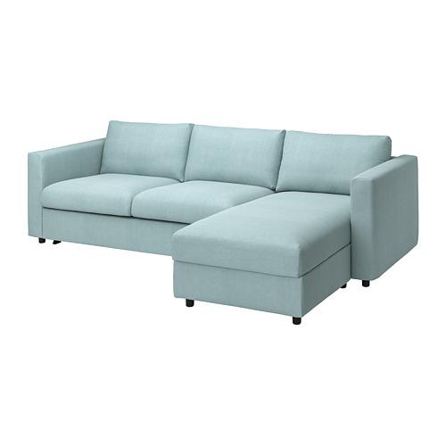 VIMLE - 3-seat sofa-bed with chaise longue, Saxemara light blue   IKEA Hong Kong and Macau - PE799923_S4