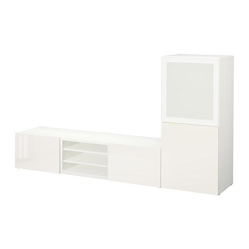 BESTÅ - 電視貯物組合/玻璃門, white/Selsviken high-gloss/white frosted glass | IKEA 香港及澳門 - PE705769_S4