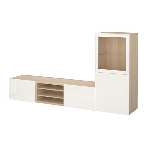 BESTÅ - 電視貯物組合/玻璃門, white stained oak effect/Selsviken high-gloss/white clear glass | IKEA 香港及澳門 - PE705775_S4