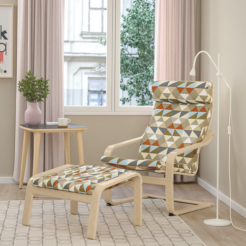 POÄNG - footstool, birch veneer/Rockneby multicolour | IKEA Hong Kong and Macau - PE800060_S4