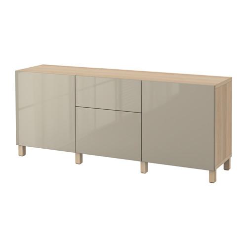 BESTÅ - 貯物組合連抽屜, white stained oak effect/Selsviken/Stubbarp high-gloss/beige | IKEA 香港及澳門 - PE535225_S4