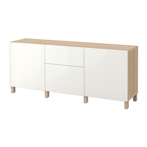 BESTÅ - storage combination with drawers, white stained oak effect/Selsviken high-gloss/white | IKEA Hong Kong and Macau - PE535226_S4