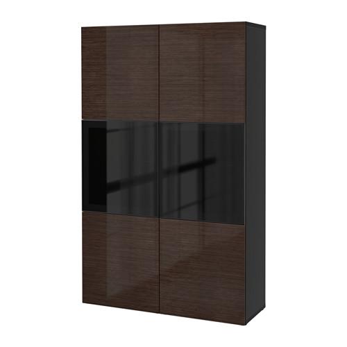 BESTÅ - storage combination w glass doors, black-brown/Selsviken high-gloss/brown smoked glass | IKEA Hong Kong and Macau - PE535136_S4
