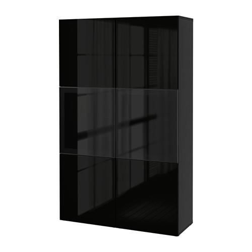 BESTÅ - storage combination w glass doors, black-brown/Selsviken high-gloss/black smoked glass | IKEA Hong Kong and Macau - PE535140_S4