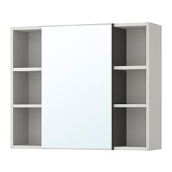 LILLÅNGEN - mirror cabinet 1 door/2 end units, black-brown/grey | IKEA Hong Kong and Macau - PE706180_S3