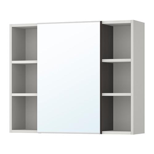 LILLÅNGEN - mirror cabinet 1 door/2 end units, black-brown/grey | IKEA Hong Kong and Macau - PE706180_S4