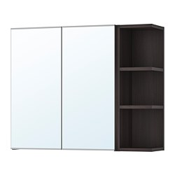 LILLÅNGEN - mirror cabinet 2 doors/1 end unit, black-brown | IKEA Hong Kong and Macau - PE706187_S3