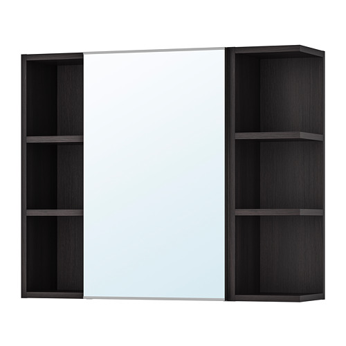 LILLÅNGEN - 單門鏡櫃連2邊櫃, 棕黑色 | IKEA 香港及澳門 - PE706185_S4