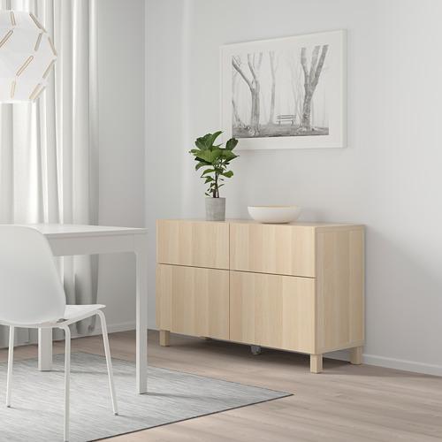BESTÅ - 貯物組合連門/抽屜, white stained oak effect/Lappviken/Stubbarp white stained oak effect   IKEA 香港及澳門 - PE746735_S4