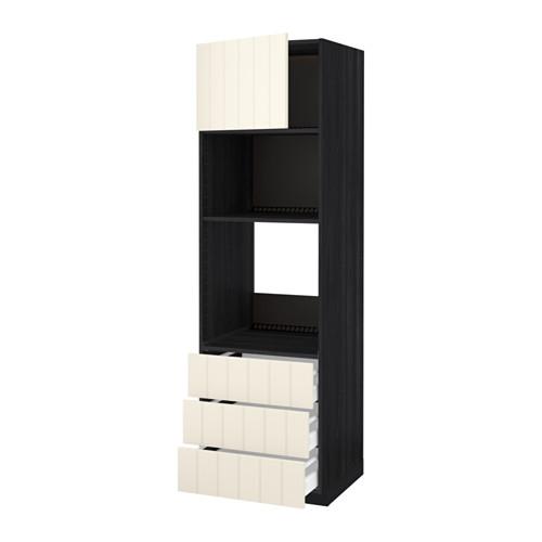 METOD - 微波爐/焗爐用高櫃連抽屜櫃門組合, 黑色 Maximera/Hittarp 灰白色   IKEA 香港及澳門 - PE534843_S4