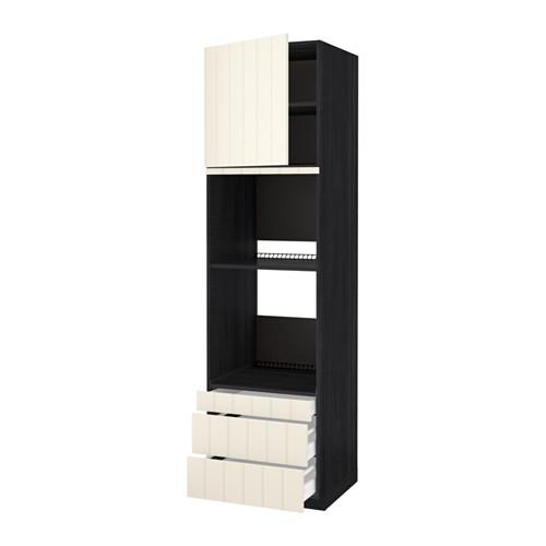 METOD - hi cab f ov/combi ov w dr/3 drwrs, black Maximera/Hittarp off-white | IKEA Hong Kong and Macau - PE534845_S4