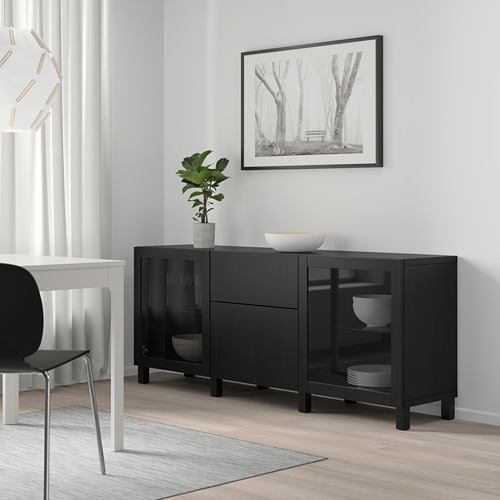 BESTÅ - 貯物組合連抽屜, black-brown Lappviken/Sindvik/Stubbarp black-brown clear glass   IKEA 香港及澳門 - PE746832_S4