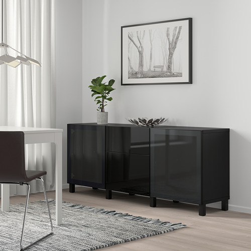 BESTÅ - 貯物組合連抽屜, black-brown/Selsviken/Stubbarp high-gloss/black smoked glass | IKEA 香港及澳門 - PE746836_S4