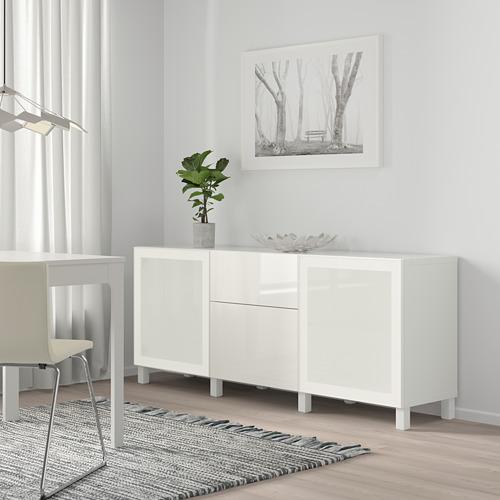BESTÅ - 貯物組合連抽屜, white/Selsviken/Stubbarp high-gloss/white frosted glass | IKEA 香港及澳門 - PE746837_S4