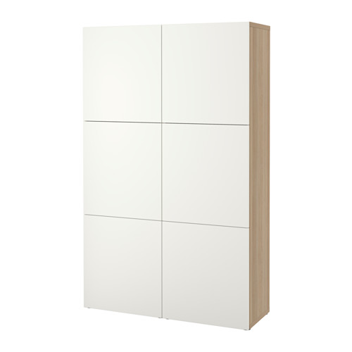 BESTÅ - storage combination with doors, white stained oak effect/Lappviken white | IKEA Hong Kong and Macau - PE535067_S4