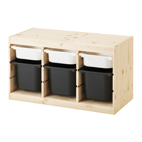 TROFAST - storage combination with boxes, light white stained pine white/black | IKEA Hong Kong and Macau - PE547508_S4